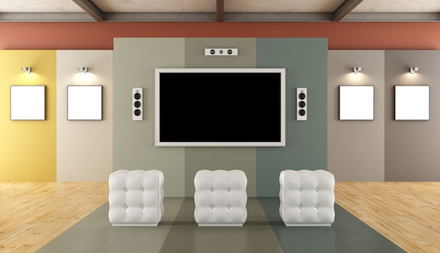 Modernes farbenfrohes museum mit multimedia-bereich