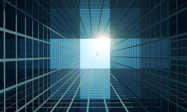 Modernes firmengebäude in der innenstadt von city mit sonnenlicht in 3d-rendering