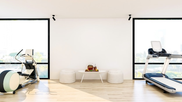 Modernes fitnessstudio-interieur mit sport- und fitnessgeräten, fitnesscenter-innenausstattung mit hocker und tisch mit wasser, 3d-rendering