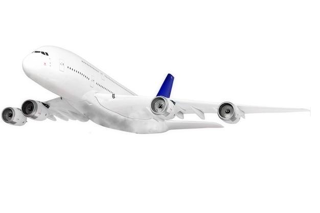 Modernes flugzeug isoliert auf weißem hintergrund.