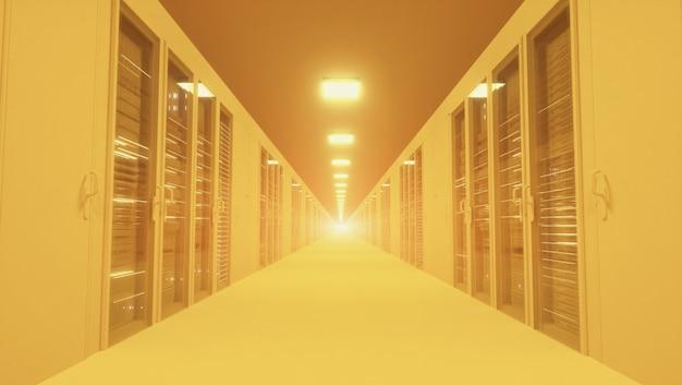 Modernes gelbes netzwerk- und telekommunikationstechnologie-computerkonzept: serverraum im rechenzentrum.