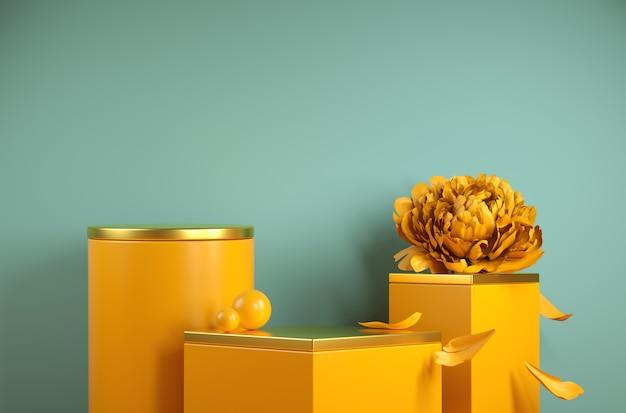 Modernes gelbes podium-set-gold des modell-schrittes mit pfingstrosenblumen-hintergrund-3d-rendering