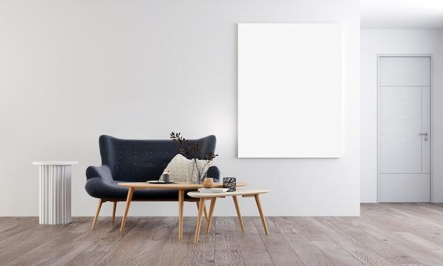 Modernes gemütliches interieur verspotten designmöbeldekor und leere rahmenleinwand des wohnzimmer- und wandmusterhintergrunds, 3d-rendering