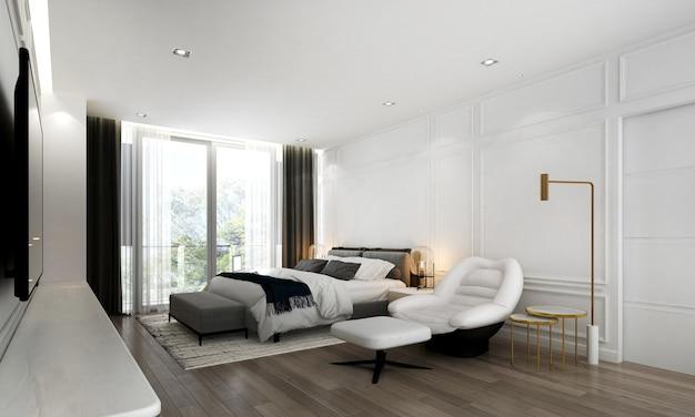Modernes, gemütliches schlafzimmer-innendesign und retro-wand
