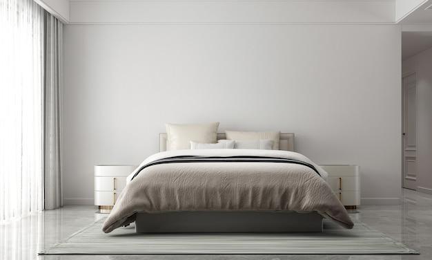 Modernes gemütliches schlafzimmer und leere wandbeschaffenheitshintergrundinnenarchitektur