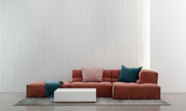 Modernes gemütliches zuhause und dekoration und innenarchitektur des wohnzimmers und leerer weißer wandhintergrund