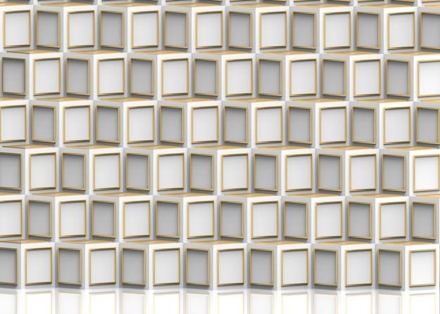 Modernes goldenes rahmenmuster auf stapelhintergrund der weißen würfelkästen.
