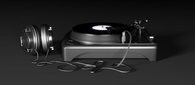 Modernes grammophon auf einer nahaufnahme des schwarzen hintergrunds, 3d illustration