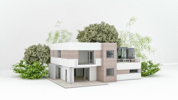Modernes haus auf weißem boden mit leerem betonwandhintergrund im immobilienverkaufs- oder immobilieninvestitionskonzept, kauf eines neuen hauses für große familie - 3d-illustration des außengebäudes des wohngebäudes