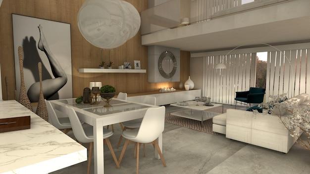 Modernes haus mit großem wohnzimmer mit kamin. 3d rendern