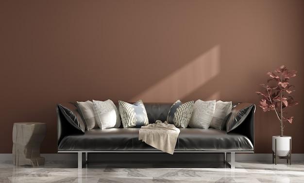 Modernes haus und dekoration und wohnzimmerinnenraum und leerer wandhintergrund