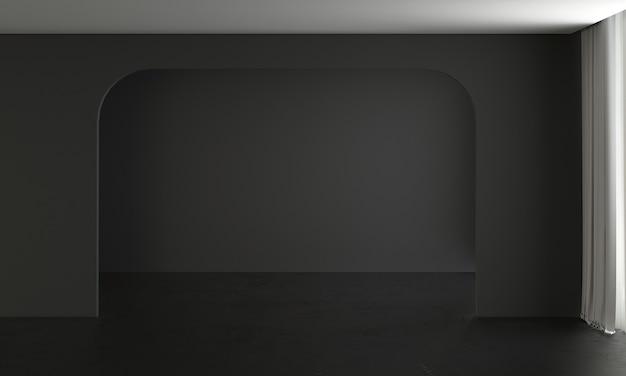 Modernes haus und dekoration verspotten möbel und innenarchitektur des leeren wohnzimmers und der schwarzen wandbeschaffenheitshintergrund-3d-wiedergabe