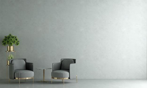 Modernes haus und dekoration verspotten möbel und innenarchitektur des schönen wohnzimmers und der betonwandbeschaffenheitshintergrund-3d-wiedergabe