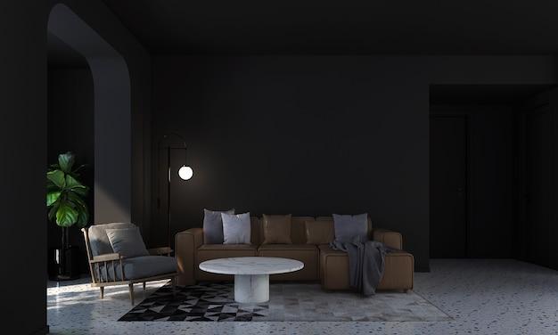 Modernes haus und dekoration verspotten möbel und innenarchitektur des schwarzen wohnzimmers und der leeren schwarzen wandbeschaffenheitshintergrund 3d-rendering