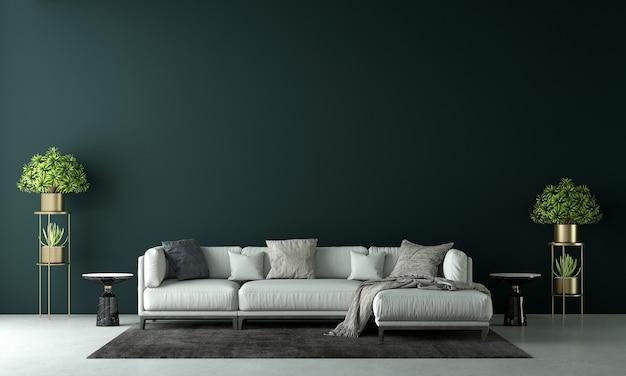 Modernes haus und dekoration verspotten möbel und innenarchitektur des wohnzimmers und der grünen wandbeschaffenheitshintergrund-3d-wiedergabe