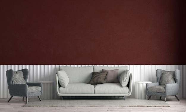 Modernes haus und innenarchitektur des wohnzimmers und des roten wandbeschaffenheitshintergrunds