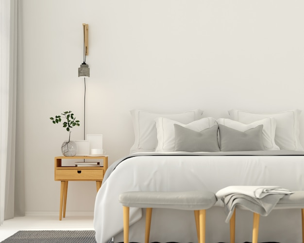 Modernes hellgraues schlafzimmerinterieur