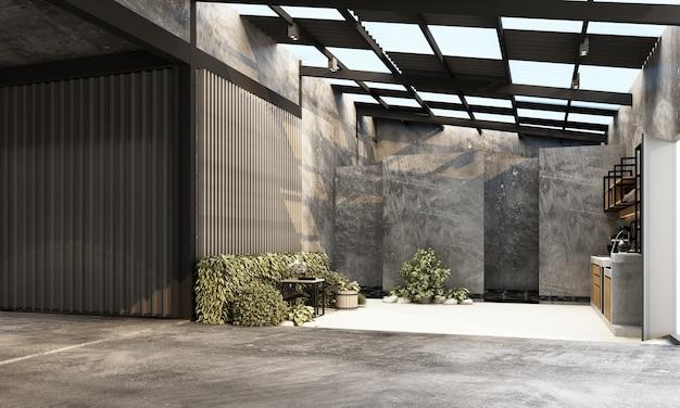 Modernes industrielager mit arbeitsraum- und wohnbereichsfabrik mit 3d-rendering der innenarchitektur aus beton und metall