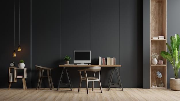 Modernes innenarbeitszimmer mit stuhl, pflanzen, buch, tisch auf schwarzer wand, 3d-darstellung