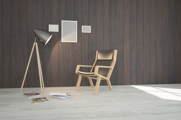 Modernes innendesign. 3d-illustration