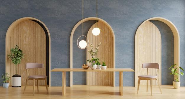Modernes innendesign des esszimmers mit dunkelblauer wand.3d-darstellung
