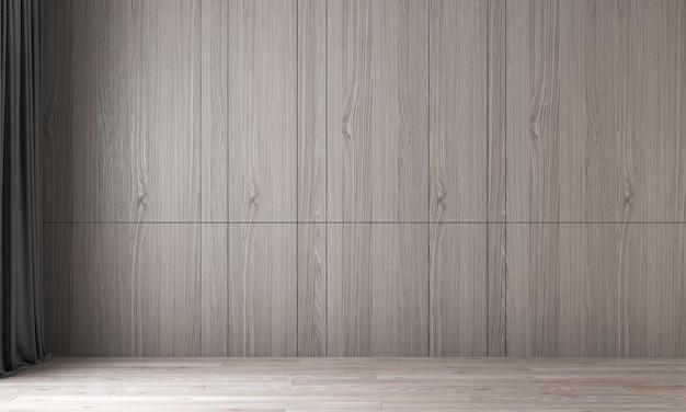 Modernes innendesign und modellraum des leeren wohnzimmers und der holzwandbeschaffenheit