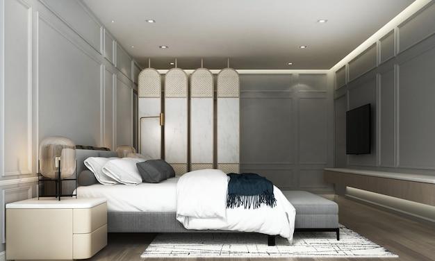 Modernes innendesign und modellraum des schlafzimmers und der grauen wandbeschaffenheit