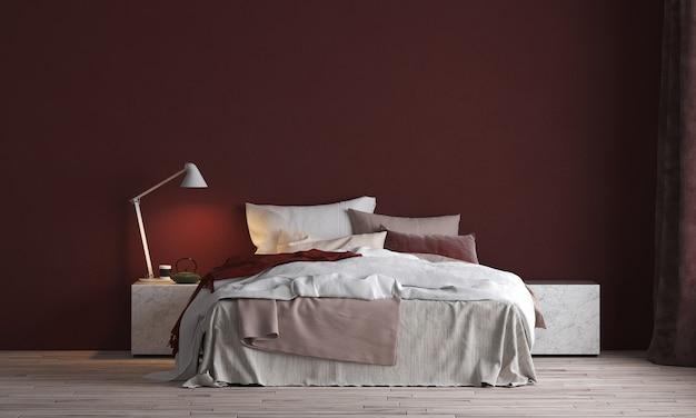 Modernes innendesign und modellraum des schlafzimmers und der roten wandbeschaffenheit
