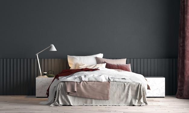 Modernes innendesign und modellraum des schlafzimmers und der schwarzen wandbeschaffenheit