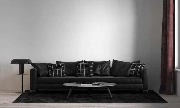 Modernes innendesign und modellraum des wohnzimmers und der weißen wandbeschaffenheit
