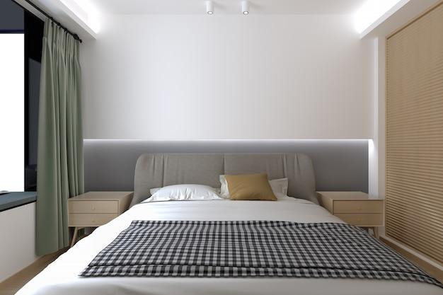 Modernes innenschlafzimmer und tageslicht bilden fenster