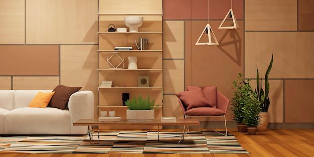 Modernes innenwohnzimmer mit küche in wohnung oder privatem haus