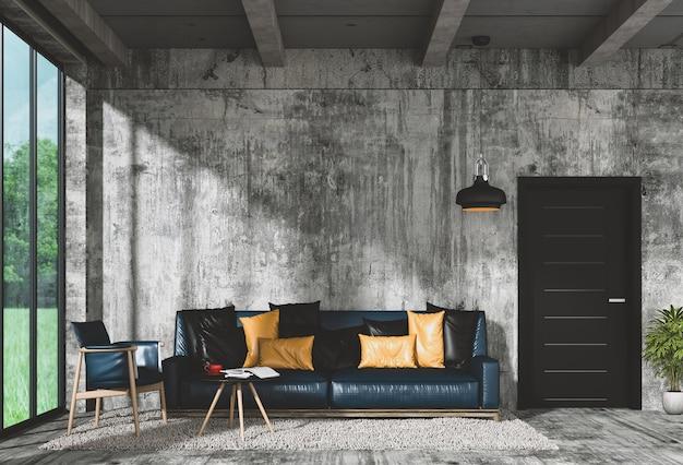 Modernes innenwohnzimmer und grüne landschaft im fenster. 3d-rendering