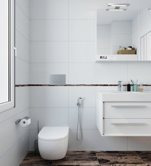 Modernes interieur der toilette mit weißen fliesen und holzboden. 3d rendern