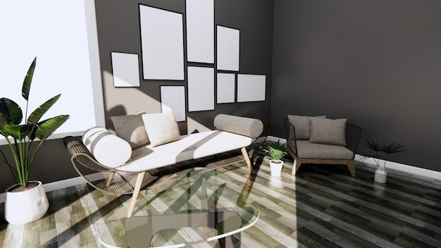 Modernes interieur mit sofa und sessel auf dunklen wand- und bodenfliesen aus holz. 3d-rendering