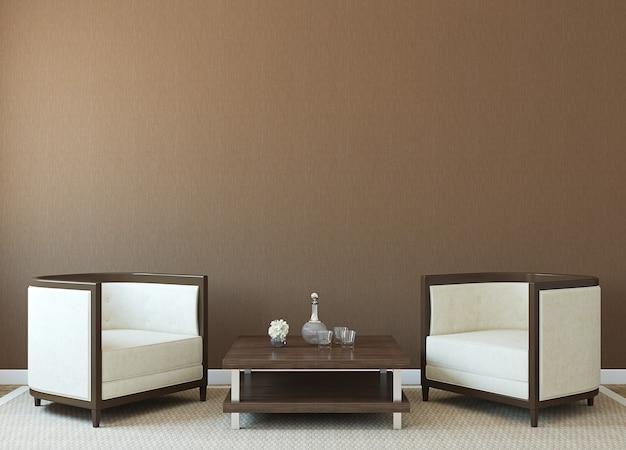 Modernes interieur mit zwei sesseln in der nähe einer leeren braunen wand. 3d-rendering.