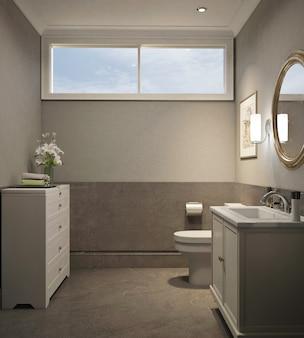 Modernes klassisches design der gästetoilette mit leerem rahmen