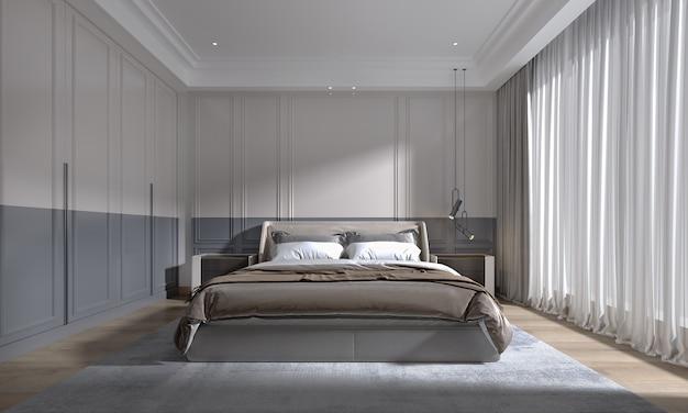 Modernes klassisches luxusschlafzimmer mit tageslicht aus großem fenster