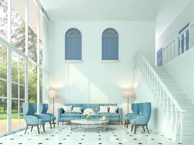 Modernes klassisches wohnzimmer 3d-rendering. es gibt weiße zimmer und treppen ins obergeschoss