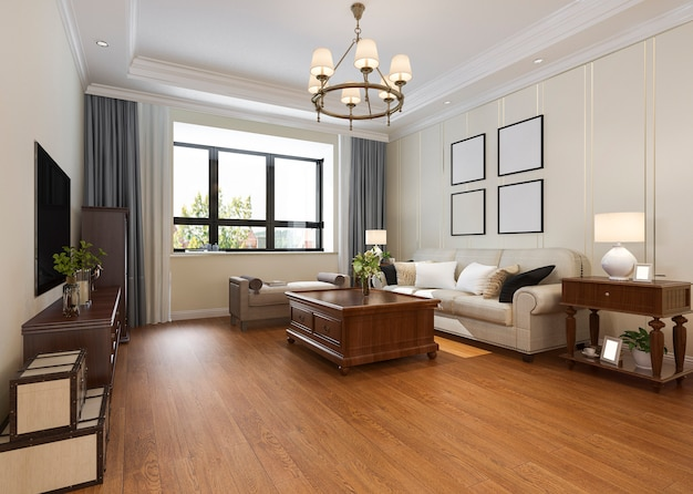 Modernes klassisches wohnzimmer mit kronleuchter