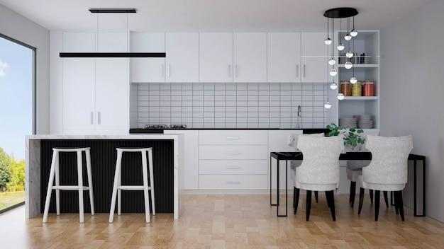 Modernes kücheninterieur mit möbeln. 3d-rendering