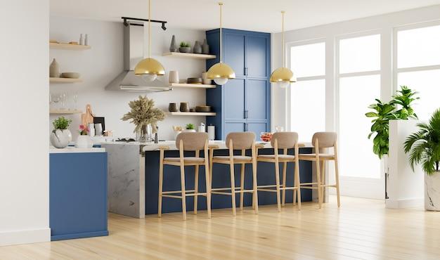Modernes kücheninterieur mit möbeln. stilvolles kücheninterieur mit weißer wand.