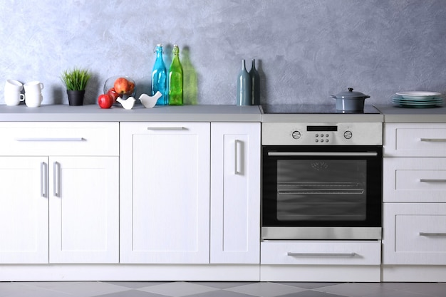 Modernes kücheninterieur, nahaufnahme