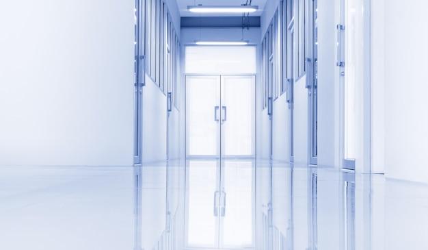 Modernes labor- oder arbeitsplatzinterieur mit beleuchtung vom gateway