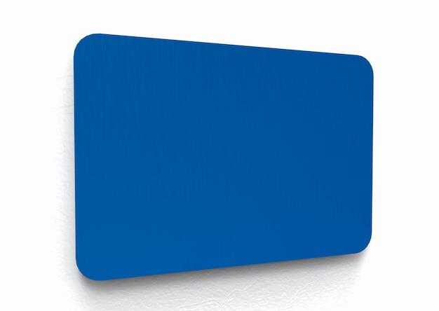 Modernes leeres blaues metallschild für irgendeinen namen oder mitteilung.