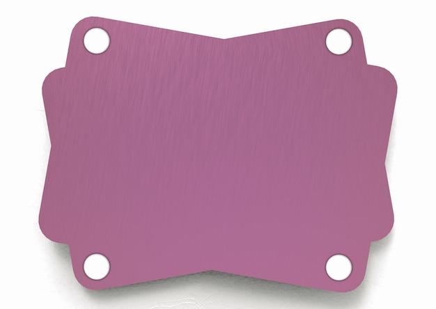 Modernes leeres rosa schild auf weißem wandhintergrund.