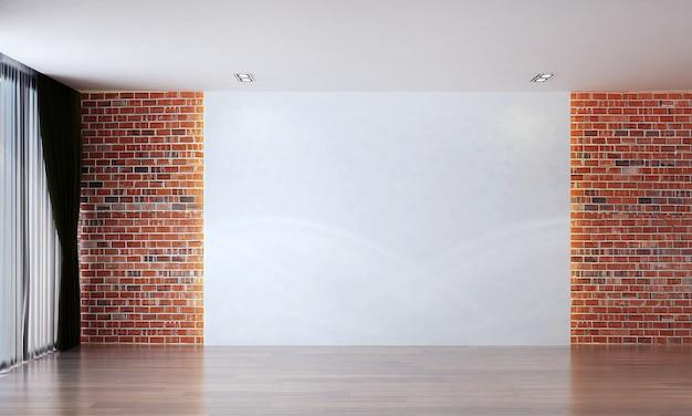 Modernes leeres wohnzimmer und rote backsteinmauerbeschaffenheitshintergrundinnenarchitektur