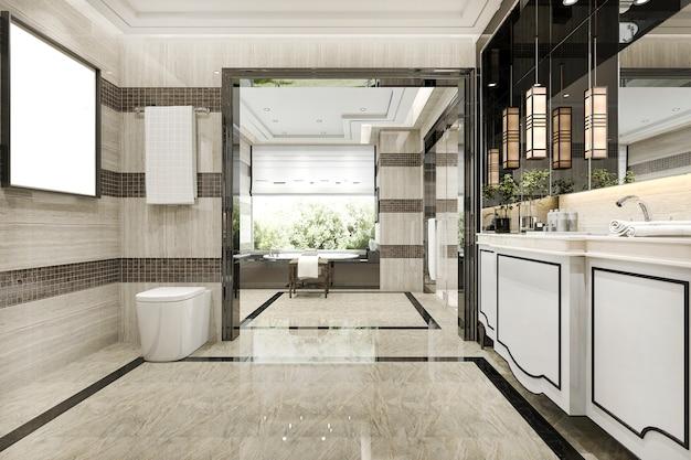 Modernes loft-badezimmer der 3d-wiedergabe mit luxusfliesendekor mit schöner aussicht vom fenster