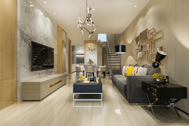 Modernes loft-esszimmer und wohnzimmer des 3d-renderings mit luxusdekor nahe der treppe