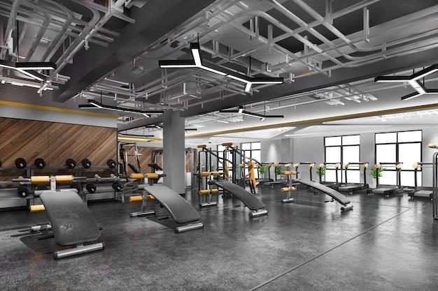 Modernes loft-fitnessstudio und fitness